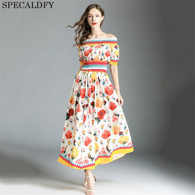 f19b3f1bcf Summer 2 Piece Skirt Set Women Off Shoulder Crop Top Floral Print Long Skirt  Runway Designer High Quality Women Fashion 2018