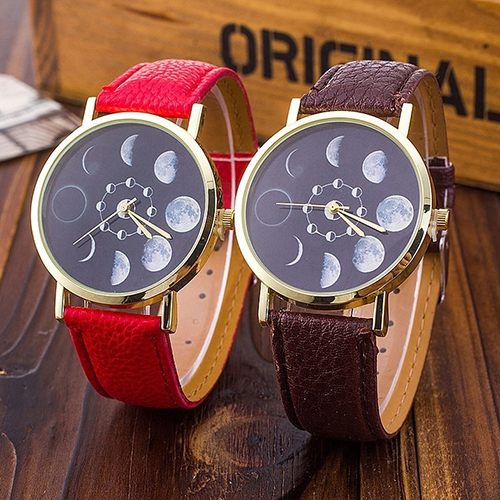 Unisex Moon Phase Astronomy Space Watch Faux Leather Band Quartz Wrist Watch BOGN