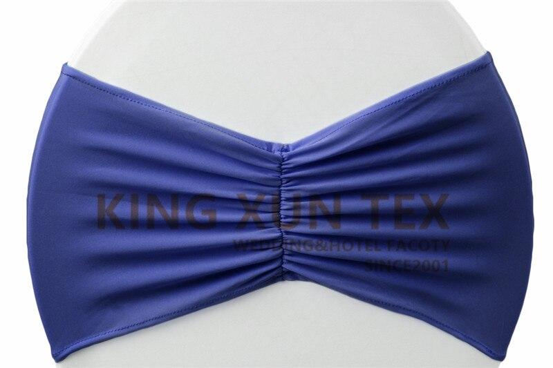 Задний гофрированный лайкровый стул полоса стрейч Подвязка из спандекса для стула подходит для свадьбы украшение для стула - Цвет: navy blue