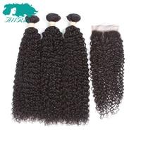 Allrun Pre-Colored Malaysian Kinky Curly Hair 100% Human Hair Weave 2/3 Bundles with 4*4 Closure None Remy Malaysain Hair Bundle