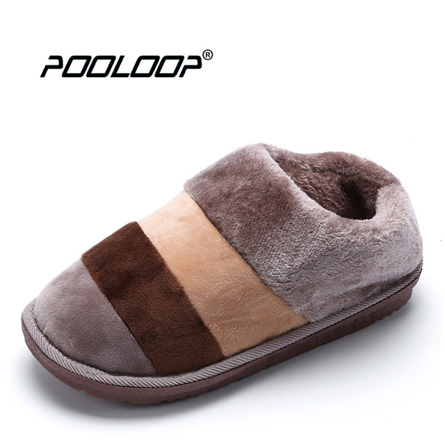 bedroom shoes. POOLOOP Casual Men Indoor Slippers Winter Warm Snow Shoes Slip On Bedroom  Fluffy Comfy