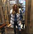Европейский знаменитости Настоящее Натурального меха Жилет, роскошные подлинная Фокс Меховой жилет жилет Женщин натурального меха Фокс жилеты оптовая