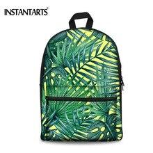 Instantarts тропический лес печати рюкзак для подростка Обувь для девочек Повседневное дамы Mochila рюкзак холст Для женщин Daypacks