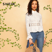 SHEIN White Guipure Lace Insert Embroidered Eyelet Peplum Top Blouse Women Long Sleeve Slim Fit Office Lady Boho Blouses