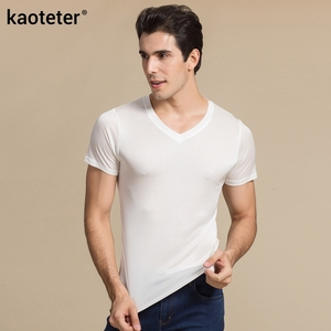 Image 3 - 100% Real Silk Mans T shirts Short Sleeve V Neck Man Wild Black White Solid Color Male Bottoming Tee Sweater Shirts Tops