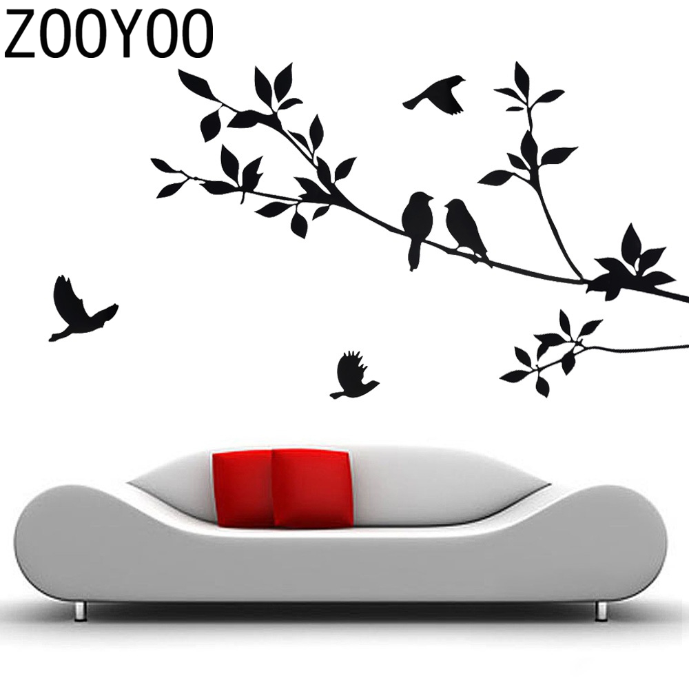 ZOOYOO Tree Bird Black wall stickers kids rooms home decor Removable Mural Art Decal bed room - Ideas Life Store store