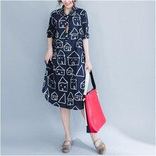 Beach casual house Print Women's shirt Long section Kimono Turn-down Collar Half sleeves Female blouses Loose Plus size shirts