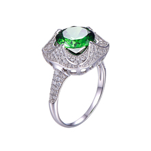 JQUEEN 6.5ct Genuine Emerald 925 Sterling Silver Rings Round Cut Flower Design Engagement Ring anillos anel aneis Wholesale