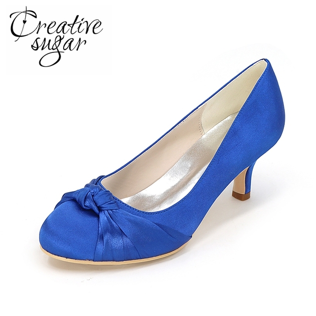 Creativesugar Lady low heel dress rounded toe heels with knot ...
