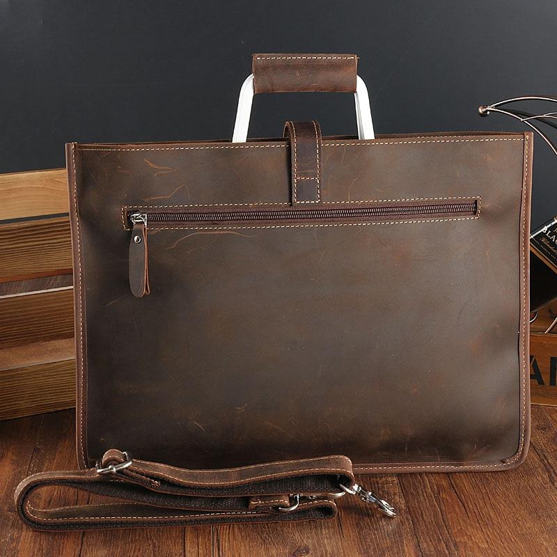 Joyir 2019 Crazy horse mallette en cuir pour homme couleur café vintage hommes véritable sac messenger en cuir sacs d'affaires homme - 3