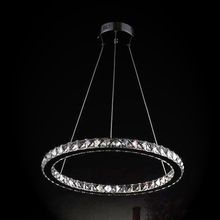 Ecolight Modern Led Crystal Pendant Lights Lamps Transparent Crystal Stainless Steel Dinning Study Room