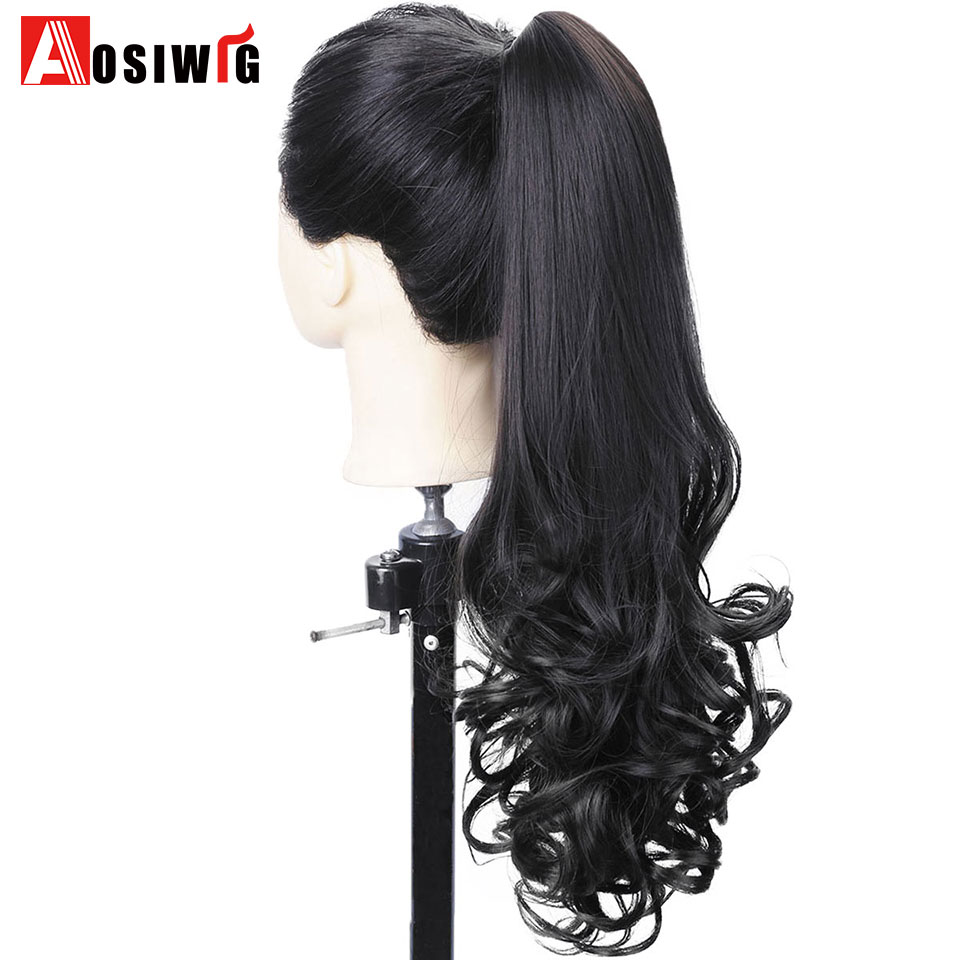 Inventive Aosi Wig Long Wavy Ponytail Natural Fake Hair Tails Women Heat Resistant Synthetic Ponytails Women Fault Hair Pieces Hairstyle High Resilience