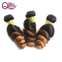 May Queen Hair Ombre Peruvian Loose Wave 3&4Pieces Remy Hair Extensions 100% Human Hair Weave Bundles T1B/4/30 Three Tone Color