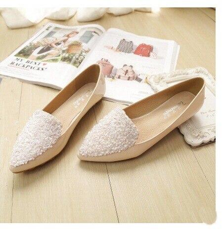 2016 новая Мода горный хрусталь острым носом балета плоские туфли ботинок квартир женщин женщина плюс размер 33-43