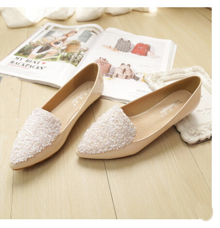2016 new Fashion rhinestone pointed toe ballet flat shoes women flats shoes woman plus size 33