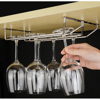 304 Stainless Steel 35cm (18) Under Cabinet Wine Glass Rack Stemware Holders Hanger Double Rows Top Mount
