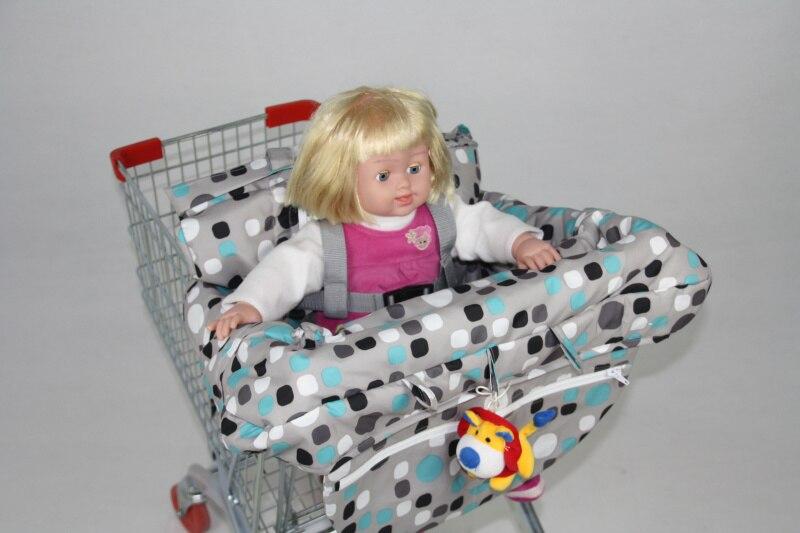 2в1 двухместная детская магазинная Тележка для покупок, крышка для обеденного стула, антибактериальная Защитная Подушка, портативная - Цвет: Blue