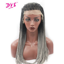 Deyngs Synthetic Lace Front Wigs Long Braided Straight Hair For Black Women Ombre Black To Gray Color Naturally Lace Hair Wig