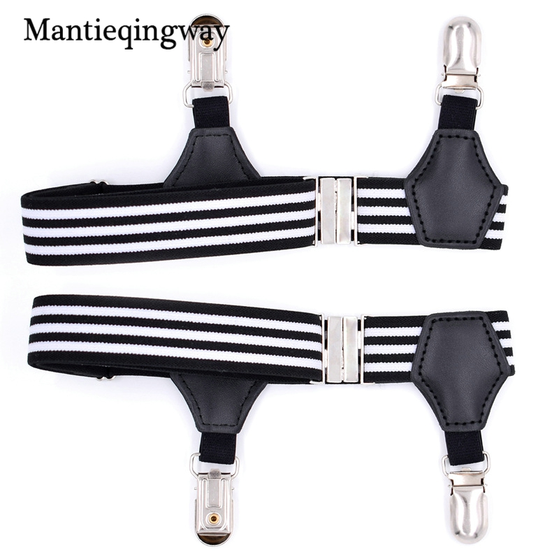 Mantieqingway Mens Socks Garters Striped Suspensorio Resistance Belt Gentlemen Elastic Shirts Suspenders Belt Adjustable Garters