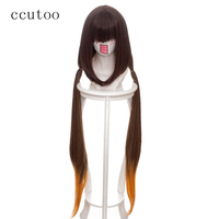 ccutoo 100cm Brown Ombre Yellow Straight Fate/stay night Osakabehime Synthetic Hair Cosplay Wig Heat Resistance Costume Wigs