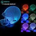 3D Rugby hat Night light lamp DC5V Rechargeable led light RGB Color Touch sensor light for kids bedroom living room.