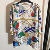 Летние топы женские 2019 футболки женская короткая футболка женская блузка с изображением якорей шелковая Женская Футболка женская одежда
