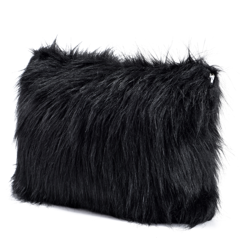 Black fluffy Mongolian Lamb Pillows Cover Living Room Faux Fur Couch Throw Pillow Covers Both ...