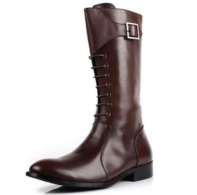 high quality fashion 2015 mens knee high boots Shine black /brown ...