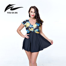 YOUDIAN Plus Size Swimsuit High Waist Swimwear Women Vintage Beach Dress Swimsuit Floral Skirt Bathing Suit plavky