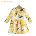 Sunshine Rainy Spring Baby Girls Clothing Sets Tulip Floral Pattern Kids Tracksuit Girls Coat Dress Set Children Clothing