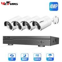 Wetrans Security Camera System H.265 Home Surveillance HD 4MP Outdoor Night Vision CCTV Kit Onvif 4CH NVR POE IP Camera Set