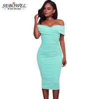 SEBOWEL Women Sexy Off Shoulder Strapless Midi Dress Ruched Elegant Bodycon Dress Party Clubwear Pencil Dress