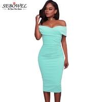 SEBOWEL Women Sexy Off Shoulder Strapless Midi Dress Ruched Elegant Bodycon Dress Party Clubwear Pencil Dress