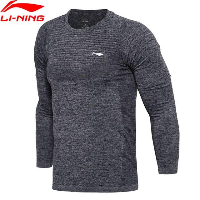Li-Ning Для мужчин серия Бадминтон в сухом футболка с длинным рукавом Slim Fit дышащая подкладка Спортивная футболка ATLM111 MTL980