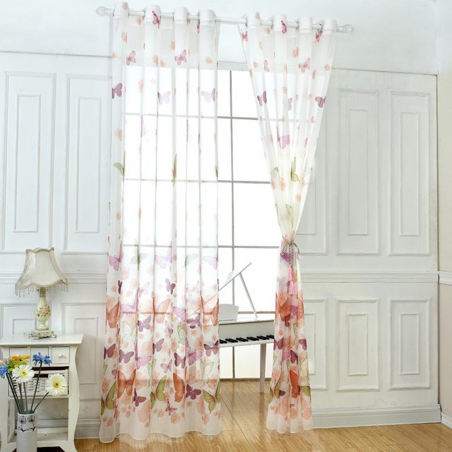 Window Sheer Tulle Butterfly Fabrics Country Bedroom White Tulle Washable  Voile Curtains Style Printed Panel