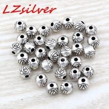 Hot Sale !  20pcs Antique Silver Zinc alloy Flower Round Spacer Beads 6x5.5mm DIY Jewelry D24