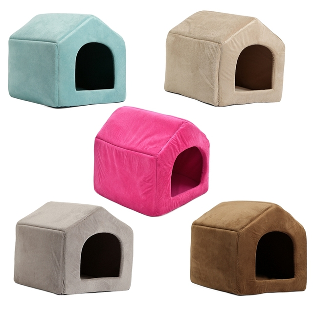 Pet Dog Cat Dome Bed Kitten Cave Cubby Cozy Baskets House Embossed Crate Warm Windproof Dog Puppy Kennel Cat Cushion Kitten Mat 1