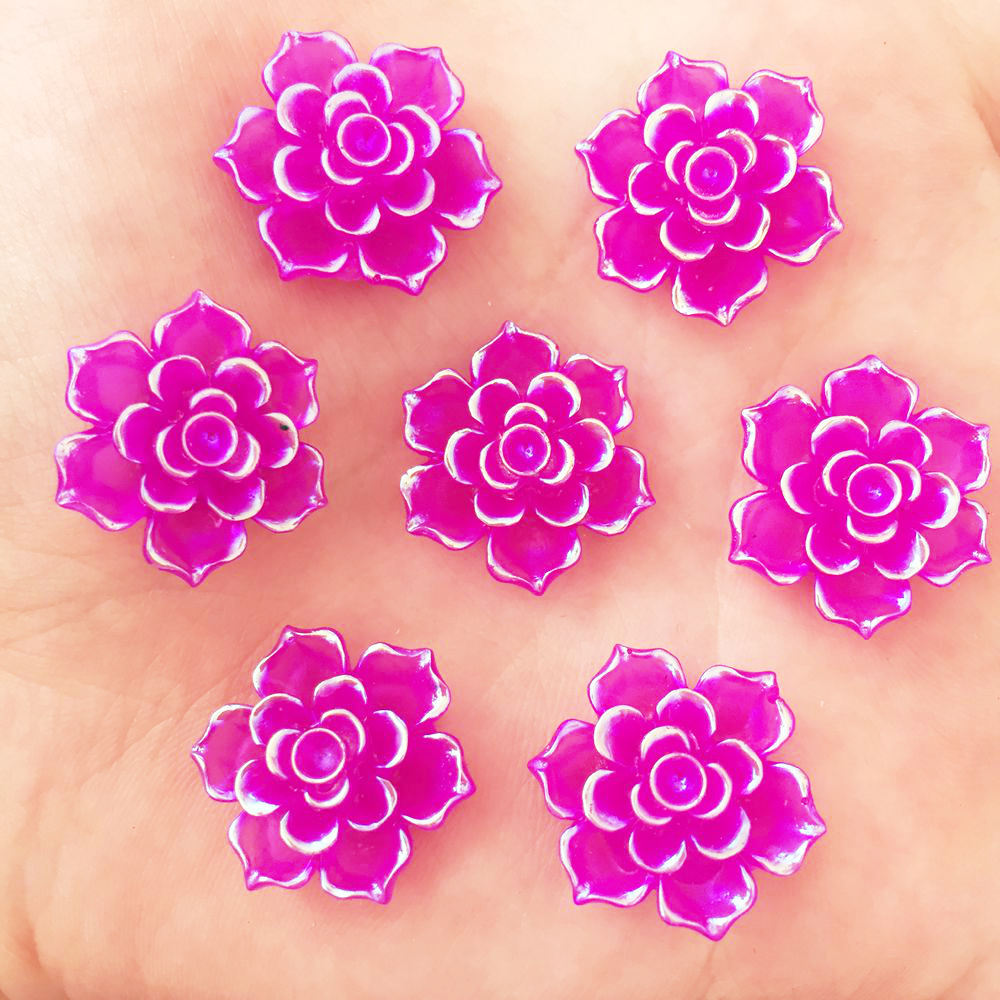 Новый 20 шт. 20 мм AB Смола 3D каменный цветок Flatback Свадьба Diy Дизайн кнопку ремесло K331 * 2