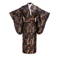 Black Japanese Women Traditional Silk Kimono With Obi Vintage Evening Dress Performance Dance Dress Cosplay Costume One size