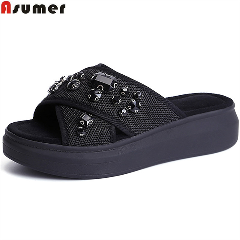 ASUMER big size 33-43 fashion summer new arrival shoes woman comfortable flat platform mules shoes women slippers black gray