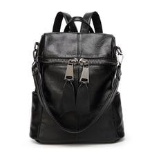 New Genuine Leather Punk Backpack Black Euro Big Women Backpack Solid Simple School Bag Designer Multifunction Girl Shoulder Bag