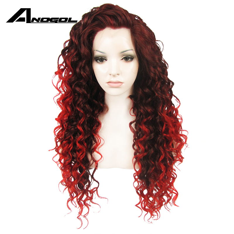 Anogol High Temperature Fiber Pink Red Purple Synthetic Hair Wigs Long Golden Blonde Kinky Curly Lace