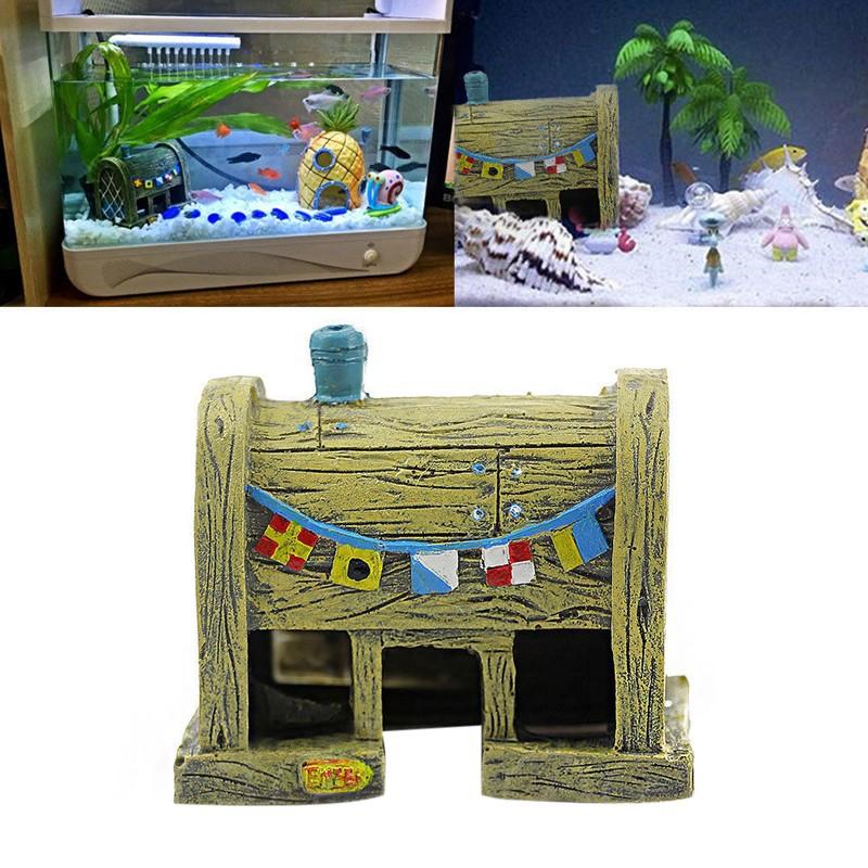 bob esponja de resina casa decoracin del acuario paisajismo pecera crustceo crujiente adornos roca cueva de