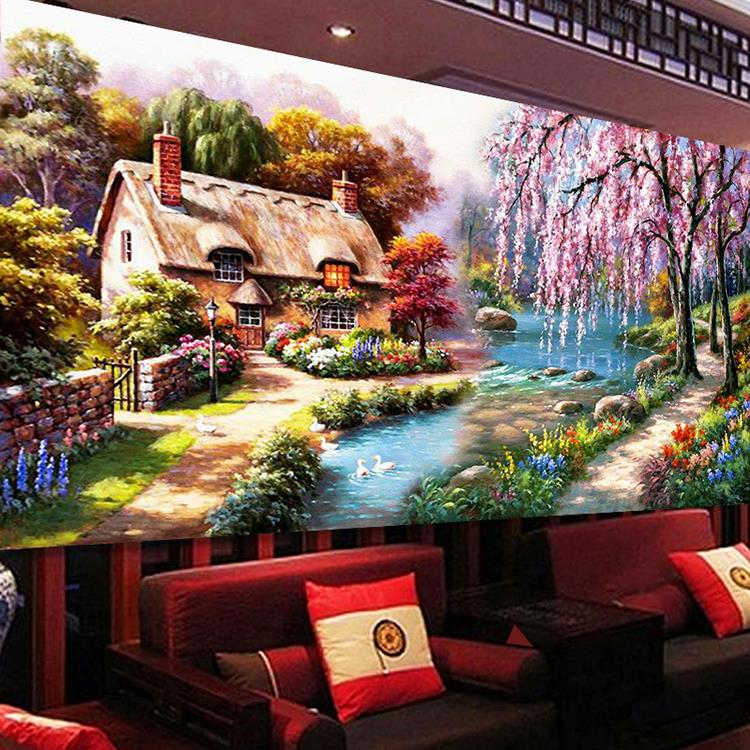 New Diy 5d Diamond Painting Landscapes Garden Painting Mosaic Cross Stitch Kits Diamonds Embroidery Home Decoration