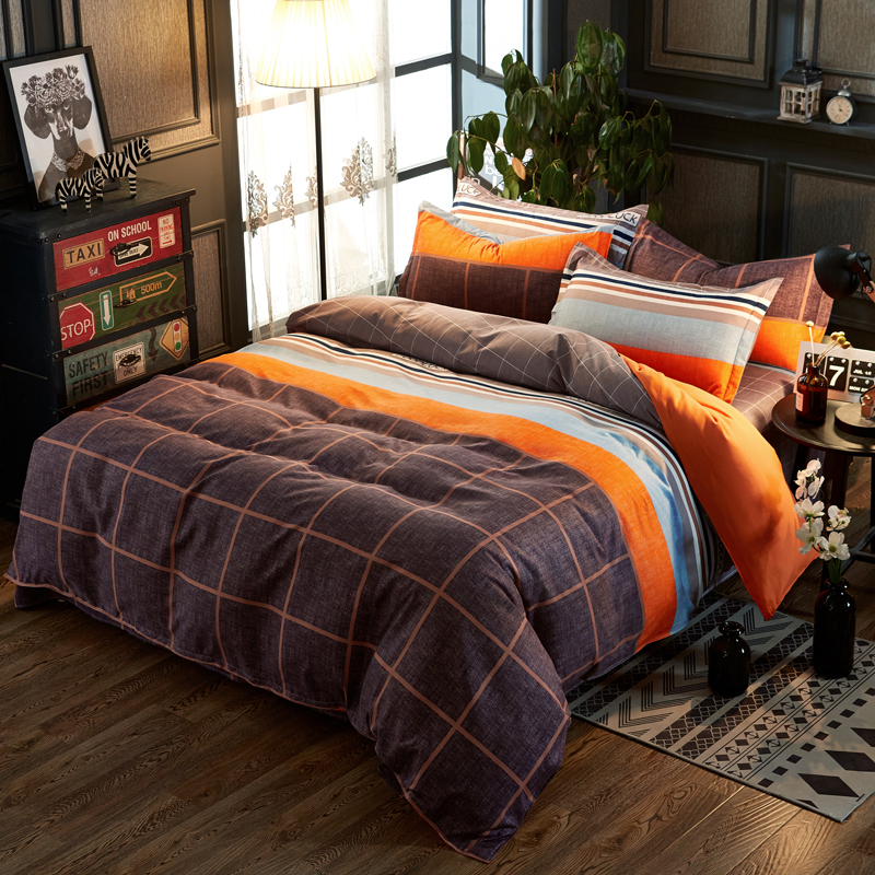 Fashion Check Plaid Sports Style Bright Orange Stripe 4Pcs Twin/Full/Queen/King Size Bed Linen Quilt/Duvet/Doona Cover Set&Sheet