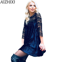 AIZHIXI Autumn Winter Fashion Velvet Pleated Dress Sexy Hollow Out Lace Stitching 2017 Women Three Quarter