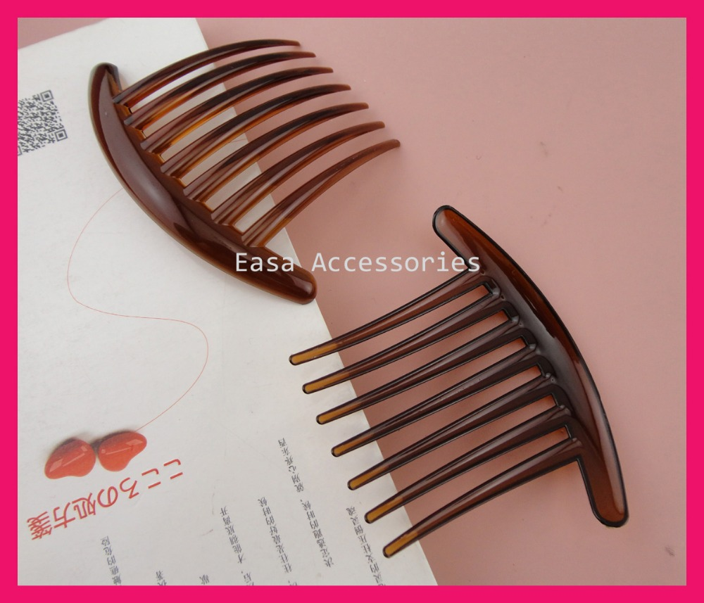 10PCS 8.5cm*10.5cm Clear Dark Brown Plain Big 7teeth Plastic Hair Combs for Long hairs Handmade diy hair accessories,