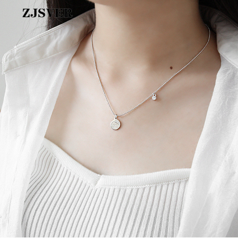 ZJSVER Fine Jewelry 925 Sterling Silver Necklace Round Card Pendant Fashion Silver Color Women Chain Zircon Necklace For Gift in Necklaces from Jewelry Accessories