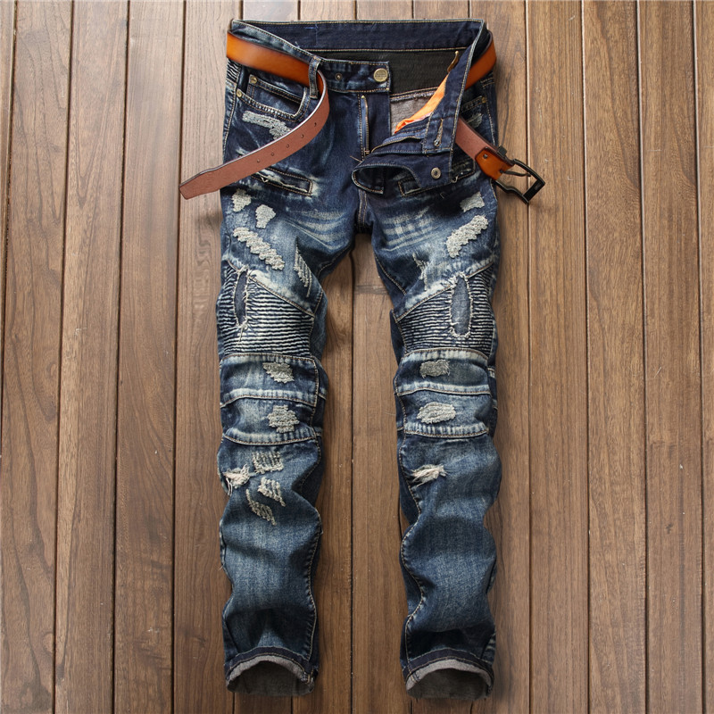 2017 Mens Jeans Plus Size Relaxed Biker Jean Punk Casual Skinny Motorcycle Hip Hop Durable Denim Ripped Men Jeans Streetwear streetwear men casual motorcycle biker destroyed denim jeans slim fit skinny straight ripped pants fashion hip hop punk jeans