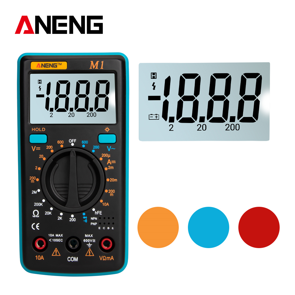 ANENG M1 Digital Multimeter Backlight Tester Professional Multimetro DIY Buzzer Diode Triode  AC/DC Meter